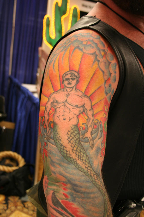 Merman tattoo - shoulder tattoo