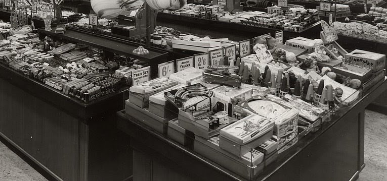 Boys Toys from Woolworth's in 1951, with clockwork trainsets the latest craze