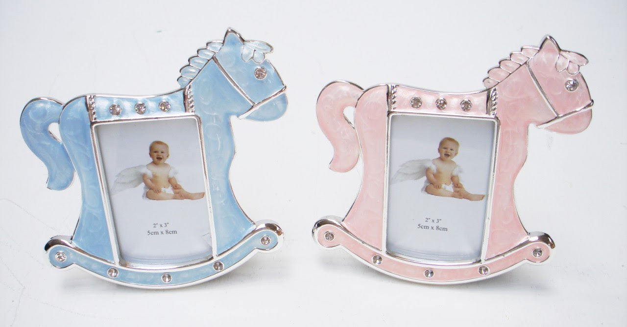 Cute Novelty Rocking Horse New Baby Boy Girl Christening Photo Frame