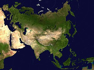 A map of Eurasia with emphasis on deserts. Not...