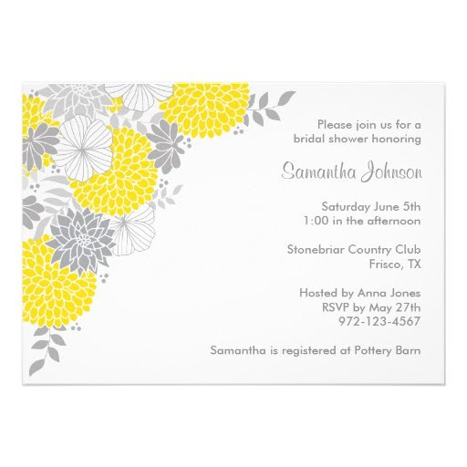 Yellow and Gray Floral Bridal Shower Invitations Custom Announcement