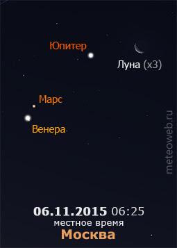 Убывающая Луна на утреннем небе Москвы 6 ноября 2015 г.