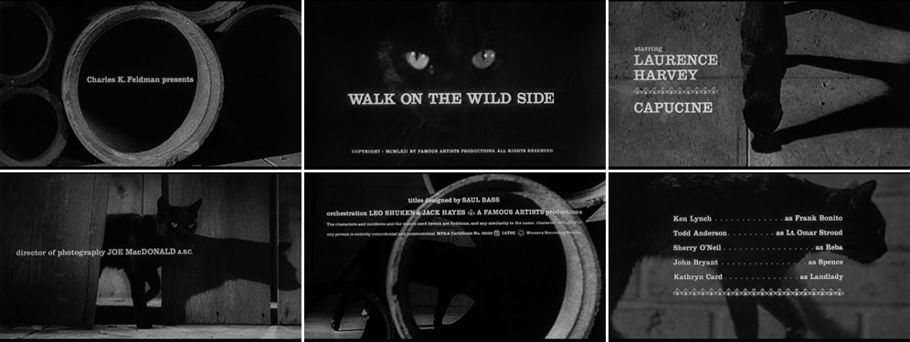 Saul Bass Walk on the wild side 1962 title sequence