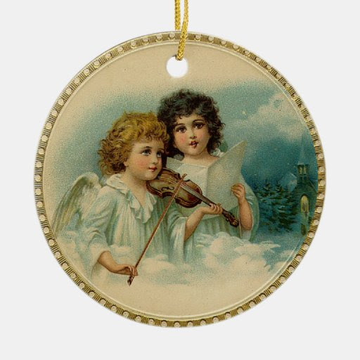 Vintage Angels Christmas Tree Ornament from Zazzle.