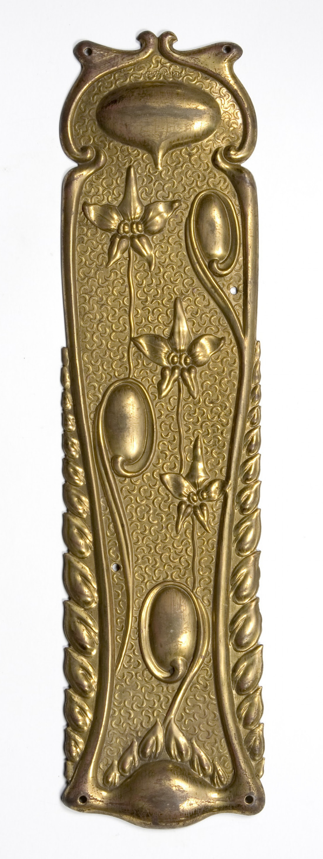 Art Nouveau Stamped brass fingerplate