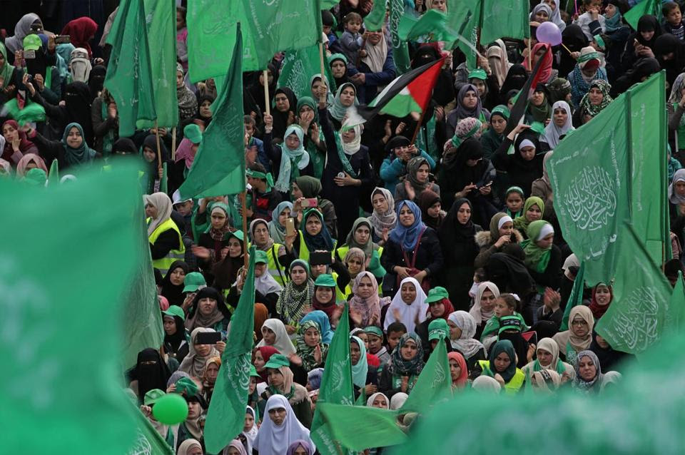 Mandatory Credit: Photo by MOHAMMED SABER/EPA-EFE/REX/Shutterstock (9292582d) Supporters attend a Hamas rally to mark the group's 30th anniversary, in Gaza City, Gaza Strip, 14 December 2017. Hamas was founded in 1987, shortly after the Palestinian Intifada (uprising) broke out against the Israeli occupation of the West Bank and Gaza. Hamas marks 30th anniversary in Gaza, --- - 14 Dec 2017