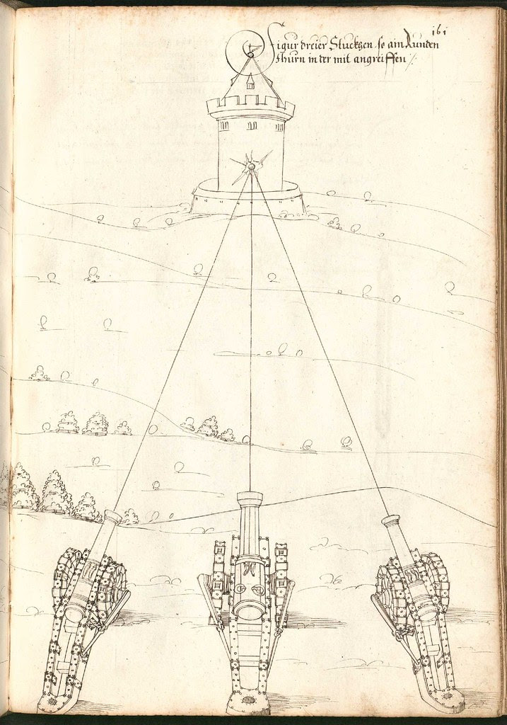 Early Modern manuscript warfare drawing -  Artilleriebuch 1582 BSB i