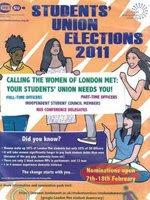 伦敦城市大学学联选举的一份海报,画面动感十足,竞选重点、主要诉求,比如全面提升女性在城市大学学联中的比重的目的一目了然。