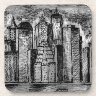 Gritty City Skyline on Coasters (set of 6)