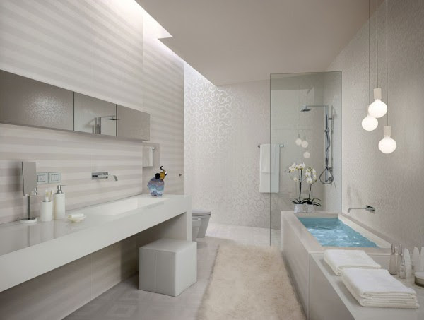 White striped bathroom tiles