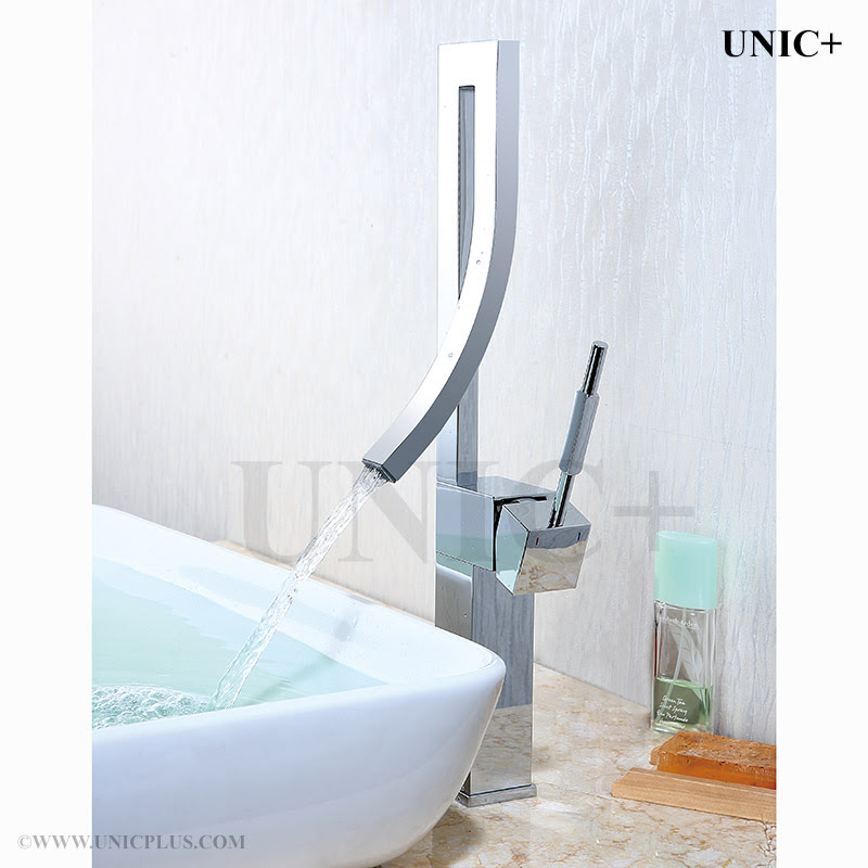 Waterfall Style Curved Spouse Bathroom Vessel Sink Faucet Bvf002 In