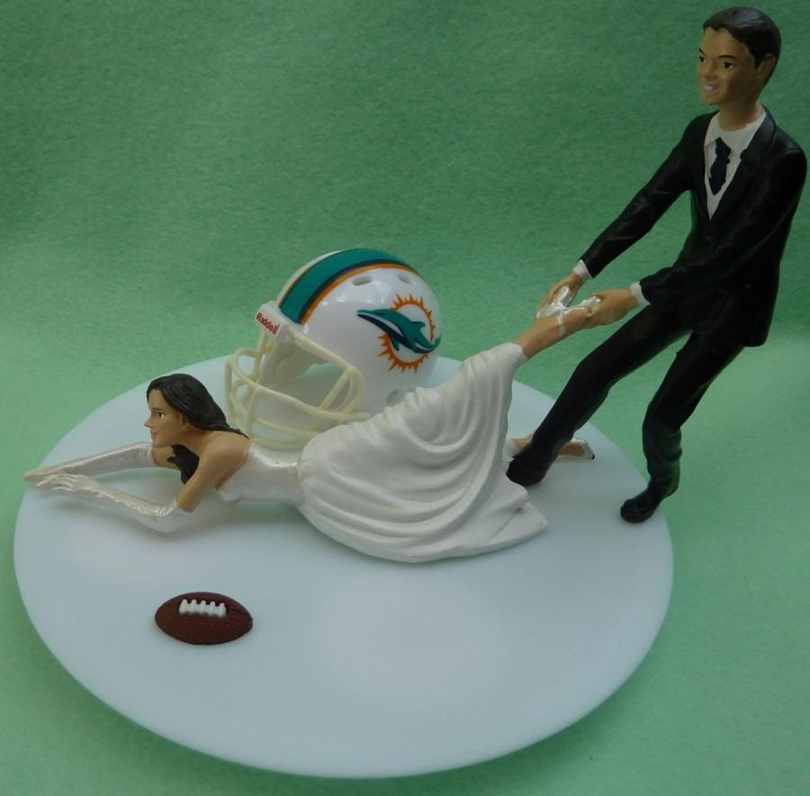 Wedding Cake Topper Miami Dolphins G Football Themed W Garter