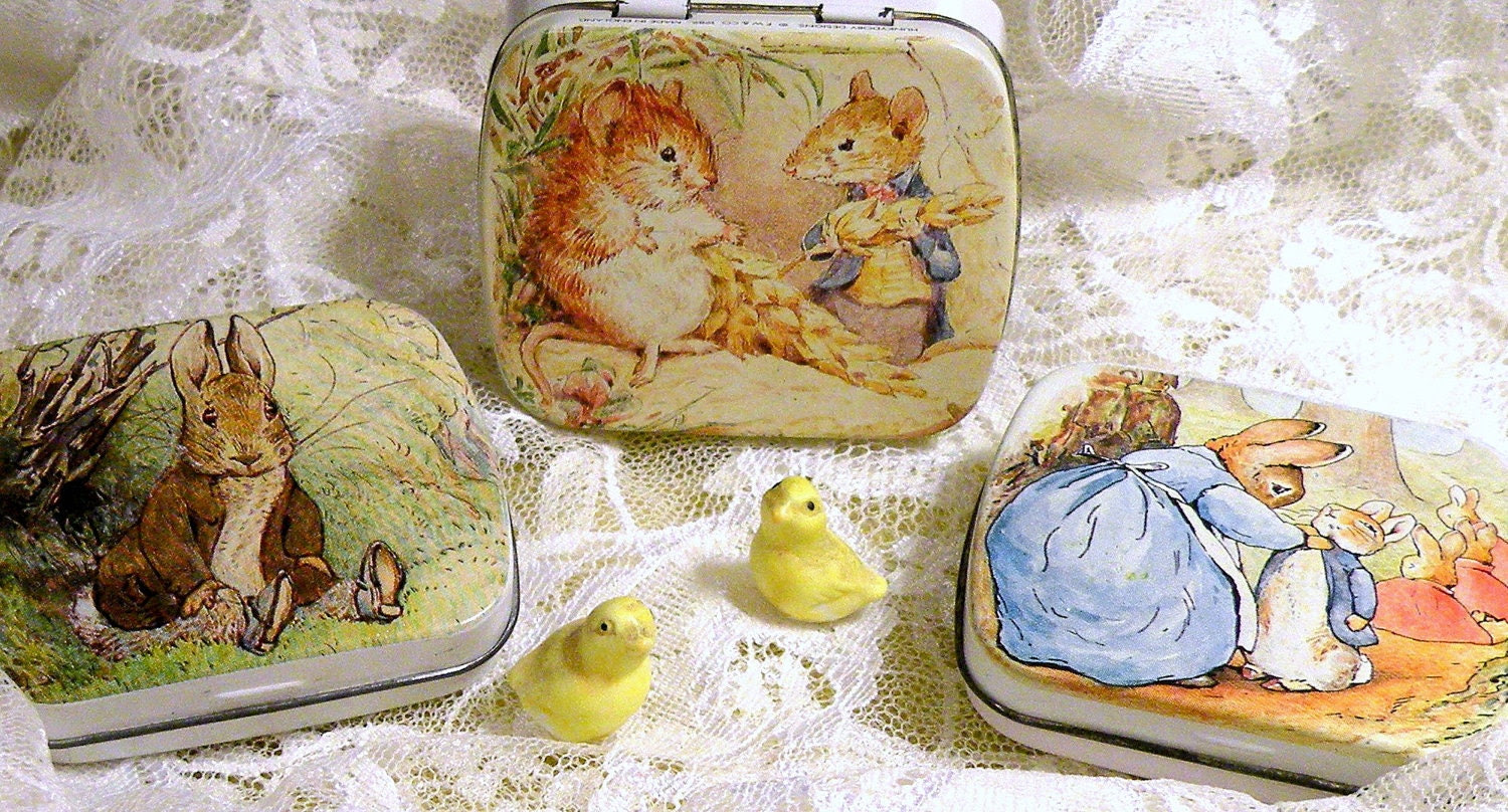 Beatrix Potter Metal Tins 6 x 5 cm Made in England Hunkydory Designs
