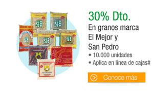 Granos marca El Mejor y San Pedro - 10.000 unidades* - Aplica en línea de caja - 30% Dto.
