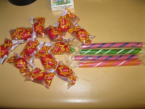 Atomic Fireballs and candy sticks