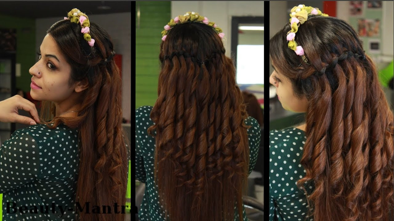 Simple  Wedding Hairstyle  For Long  Hair  Waterfall YouTube