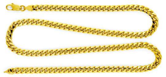 Foto 1, Gold-Kette massiv gewölbte Flachpanzer Gelb-Gold Luxus!, K2130