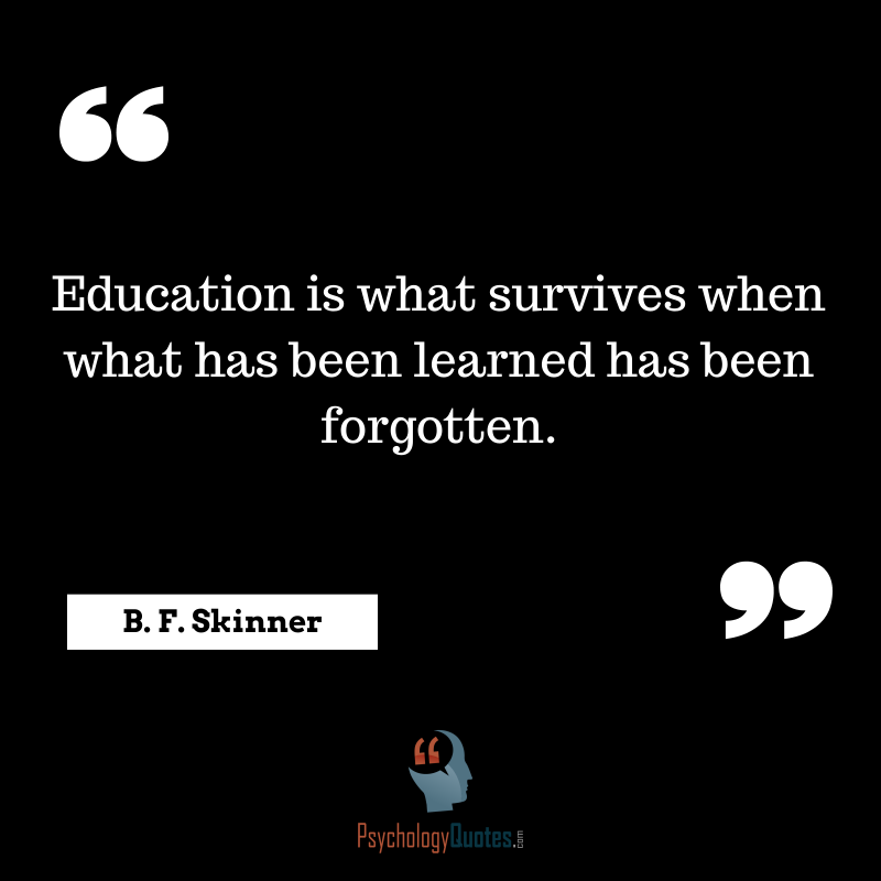 Education Is What Survives When What Has Been Learned Has Been