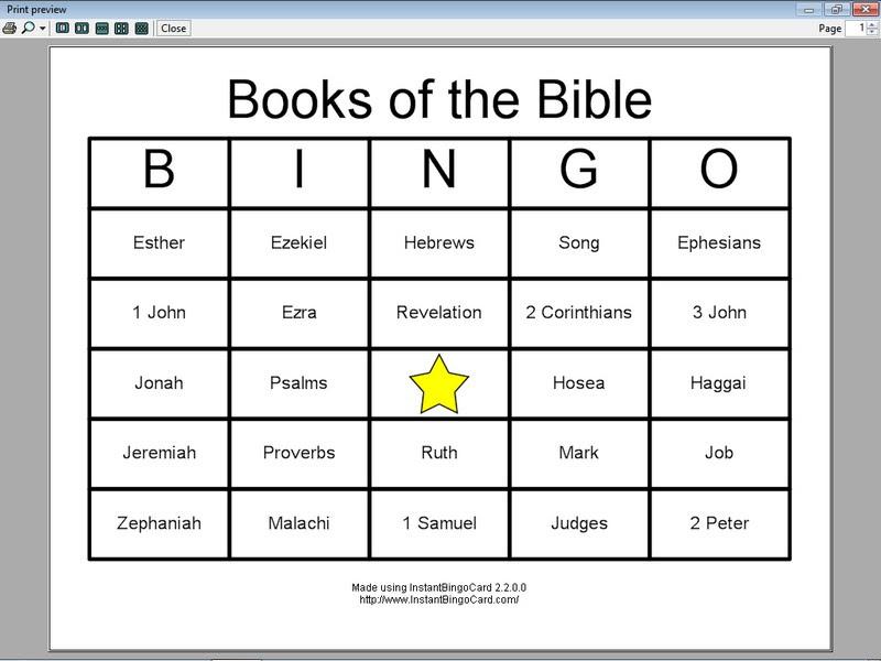 Printable bible bingo
