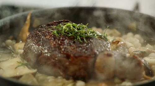 Jamie Oliver rib-eye steak with white beans and mushrooms ...