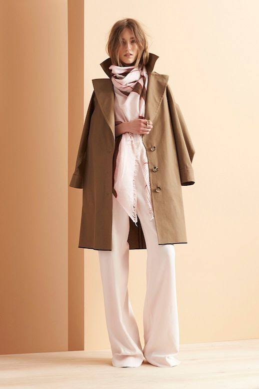 Le Fashion Blog Maiyet Resort 2015 Collection Trench Coat Pink Scarf Long Wide Leg Pants