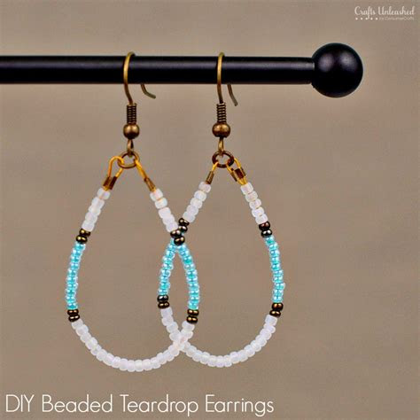 diy beaded earrings teardrop tutorial crafts unleashed