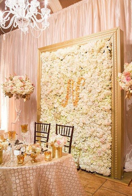 Framed Flower Wall with Monogram   Brides