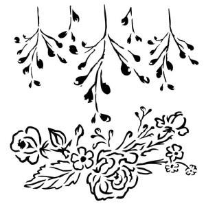 Maska-Stencil Roses with branch, SUNRISE