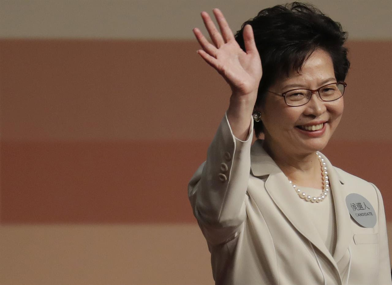 Former Hong Kong Chief Secretary Carrie Lam declares her victory in the chief executive election of Hong Kong in Hong Kong, Sunday, March 26, 2017. A Hong Kong committee has chosen the government's former No. 2 official Lam to be the semiautonomous Chinese city's next leader.