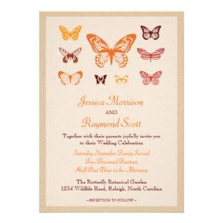 Vintage Butterflies Wedding Invitation