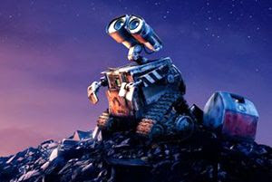WALL-E gazes up at the night sky.