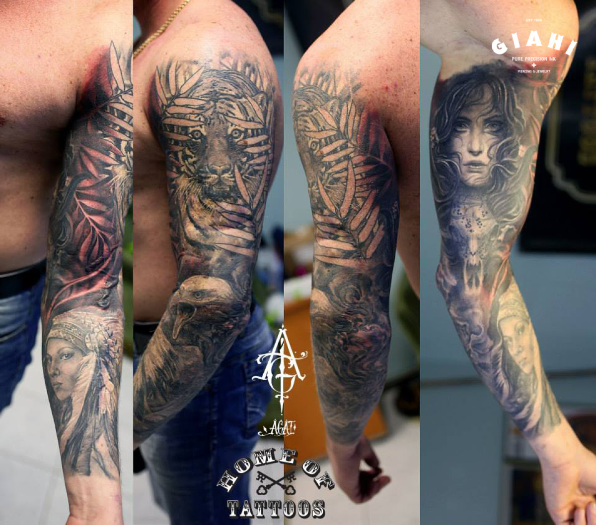Tiger In Leaves And Girl Graphic Tattoo Sleeve By Agat Artemji