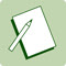 A green icon of a pencil and note pad.