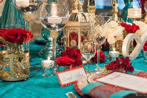Red, Teal, & Gold Modern Wedding Details, Design