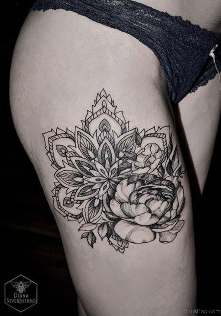 Mandala Lotus Flower Tattoo Thigh Tattoo Design