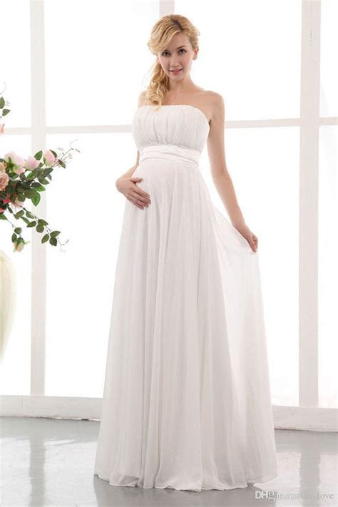 Elegant Chiffon Maternity Wedding Dress Strapless Floor