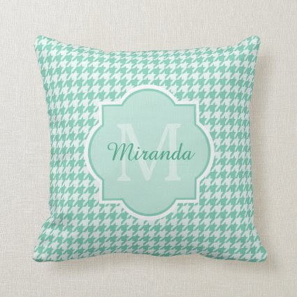 Chic Monogram Mint Green Houndstooth With Name Throw Pillows