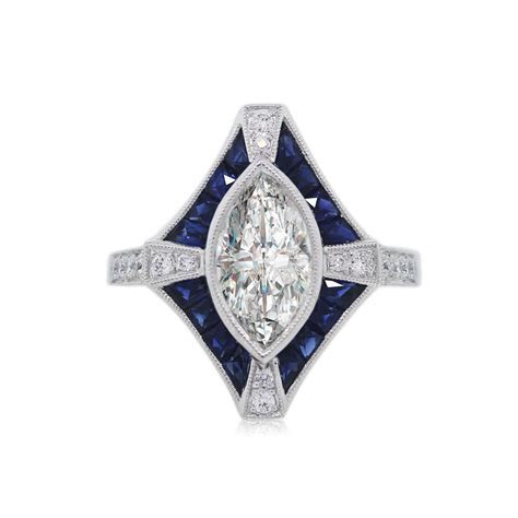 Platinum 1.59ct Marquise Diamond and Sapphire Engagement Ring