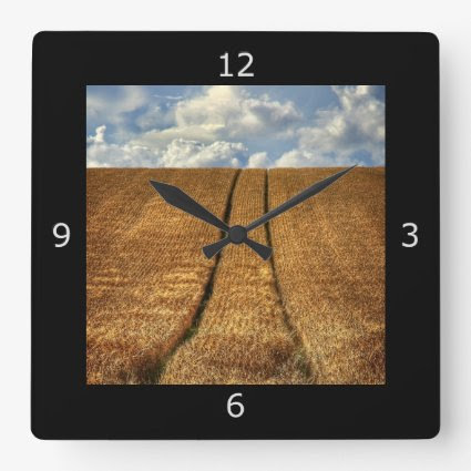 Been and Gone wheat field with Tractor Tracks Clock
