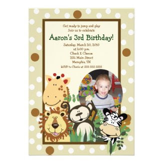 ZOO CREW Jungle *PHOTO* BIRTHDAY INVITE 5x7