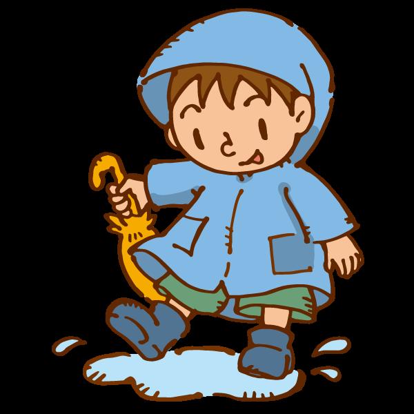 水たまりで遊ぶ男の子のイラスト かわいいフリー素材が無料のイラスト
