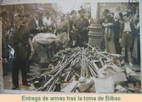 Entrega de armas tras la toma de Bilbao.