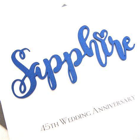 sapphire 45th wedding anniversary card by the hummingbird