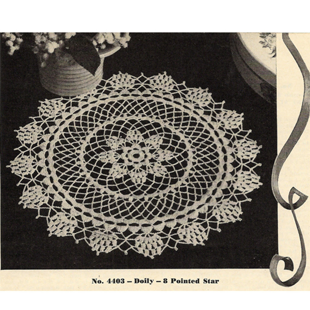 Crochet Doily Pattern No 4403, Star Doily