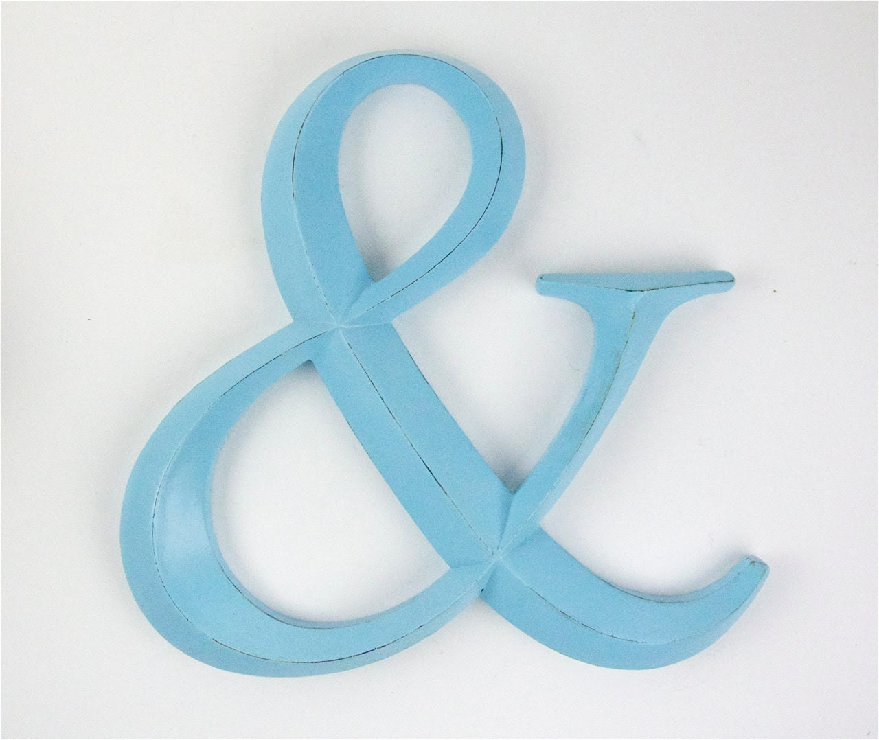Large Ampersand Aqua Light Turquoise Painted Wall by RetroPops