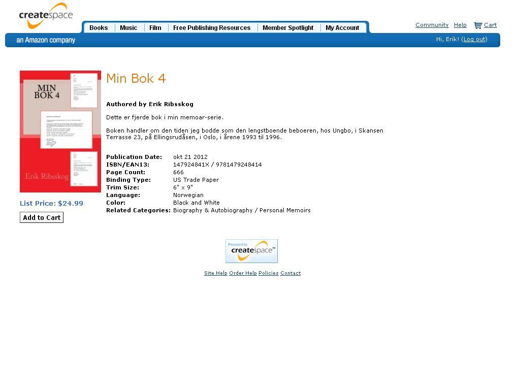 min bok 4 klar til salg på create space
