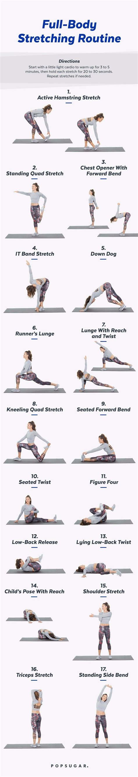 printable full body stretch routine  chill days
