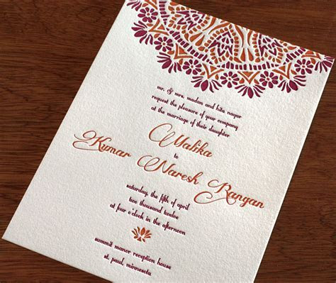 Indian Letterpress Wedding Card   Malika   Invitations by