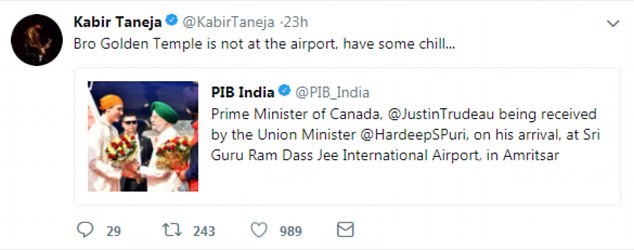Kabir Taneja, a think-tank researcher, suggested Trudeau needs to 'chill' after he arrived at the airport in Amritsar in traditional Sikh dress