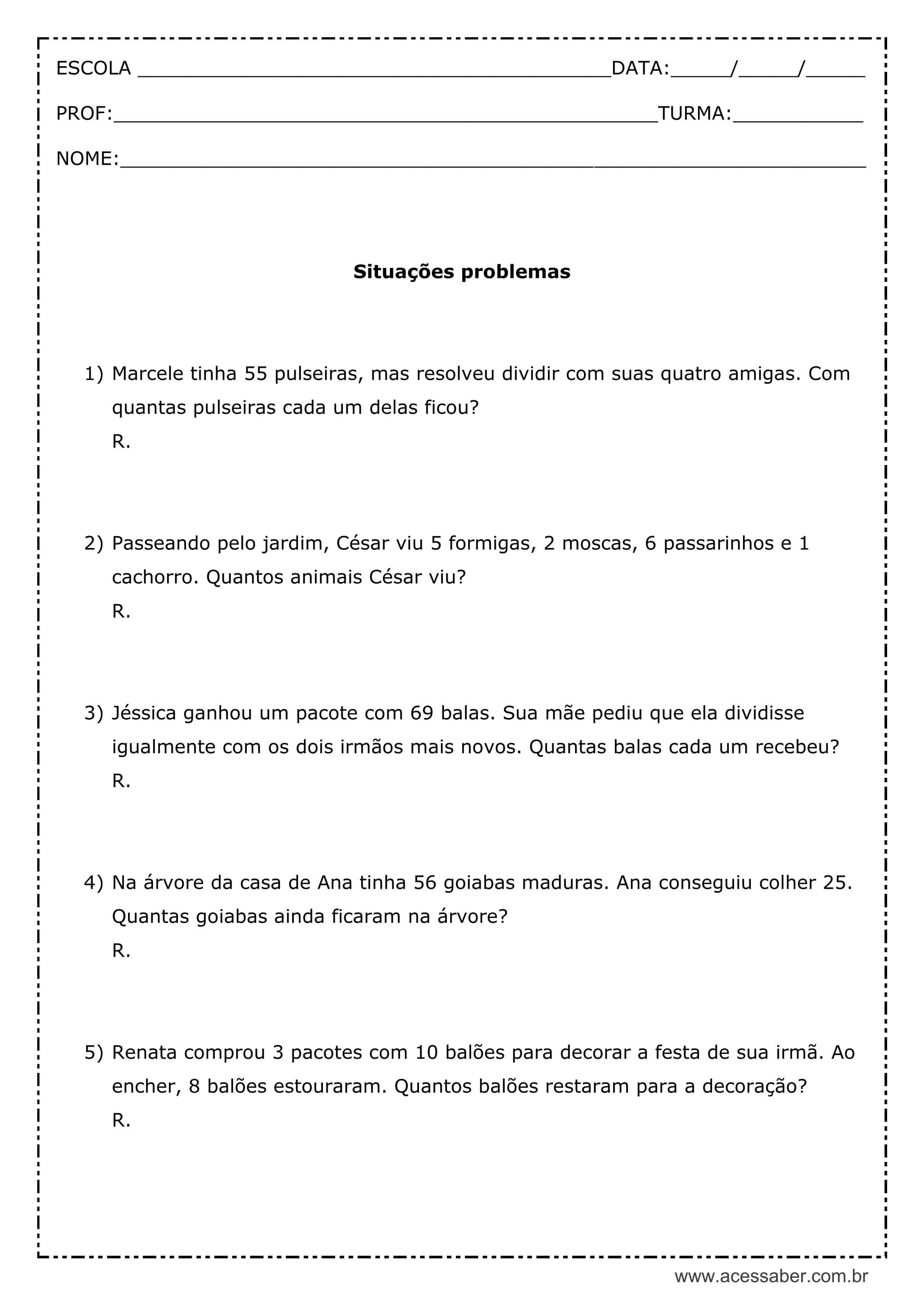 Situacoes Problemas 3 Ano Multiplicacao